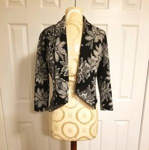 Cropped Black and White Floral Jacket - Size Large